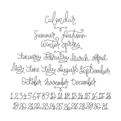 Calendar collection of months and numbers for all year, week, seasons. Ink modern brush calligraphy