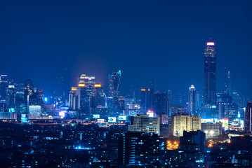 Bangkok , Thailand - October 19,2018 Panoramic Bangkok Cityscape Night View with Beautiful Skyscraper of Sukhumvit - Pratunam Business District with Height Building at Blue Hour