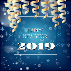 2019 New Year, Christmas Vector Card with Snow on Blue. Heavy Snowfall, Snowflakes Square Gift Voucher or Celebration Background. Holiday Decoration Template. Cool 2019 New Year Card on Blue.