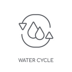 Water cycle linear icon. Modern outline Water cycle logo concept on white background from Ecology collection