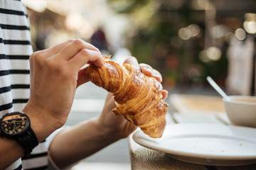 Morning breakfast with croissant