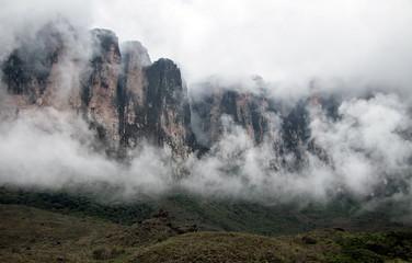 Roraima mountain through the clouds