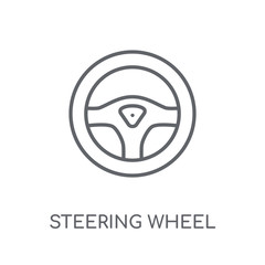 Steering wheel linear icon. Modern outline Steering wheel logo concept on white background from Entertainment and Arcade collection