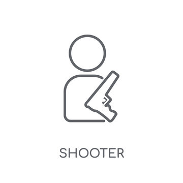 Shooter linear icon. Modern outline Shooter logo concept on white background from Entertainment and Arcade collection