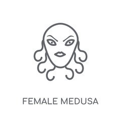 female Medusa linear icon. Modern outline female Medusa logo concept on white background from Fairy Tale collection
