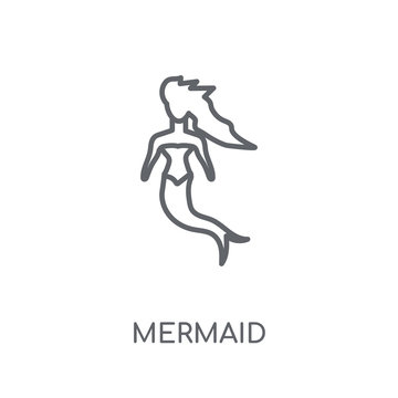 Mermaid linear icon. Modern outline Mermaid logo concept on white background from Fairy Tale collection