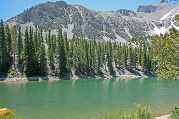 Turquoise lake, forest and mountains - Nevada