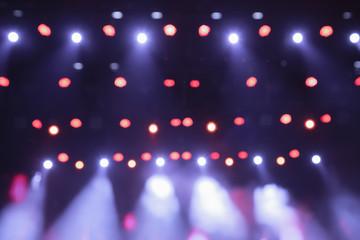 Concert light. Empty music scene. Theater lighting. Light music. Light fixtures. Abstract background.