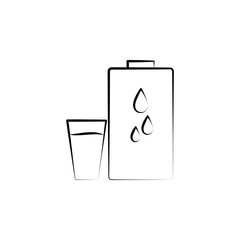 Mineral water hand drawn icon. One of the women health icons for websites, web design, mobile app