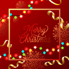 Merry Christmas red poster design with garlands. Calligraphy in squared frame with golden snowflakes, multicolored star garlands and confetti. Can be used for posters, postcards, greetings