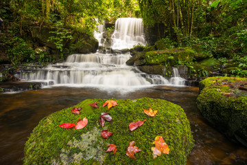 The beautiful landscape of Mun Daeng waterfalls in rainforest of Phu Hin Rong Kla national park, Phitsanulok province of Thailand.