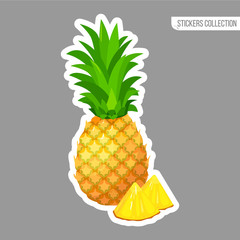 Cartoon fresh pineapple isolated sticker
