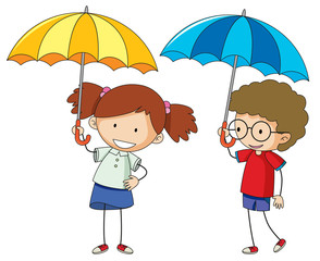 Doodle boy and girl with umbrella