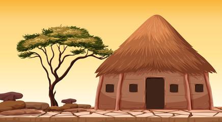 Wall Mural - A traditional hut at desert