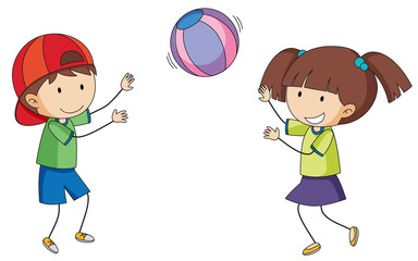 Doodle children playing ball