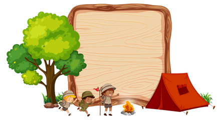 Wall Mural - Camping kids on wooden banner