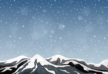 Outdoor winter mountain landscape