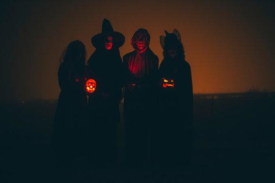 Group of people in halloween