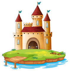 Isolated castle on white background