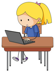 Doodle girl playing computer