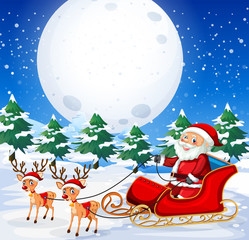 Santa riding  sleigh outdoor