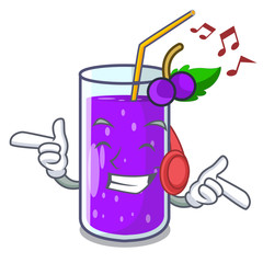 Listening music grape juice in glass a mascot