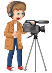 A professional cameraman character