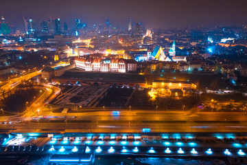 Aerial view on night Warsaw. Night cityscape of Warsaw at christmas time.