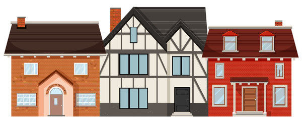 Different house on white background