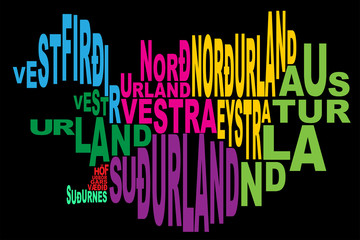 Provinces of Iceland word cloud black