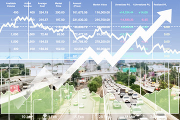 Stock financial index of successful investment on transportation business with chart and graph on superhighway intersection background at Bangkok Thailand.
