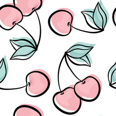 Beautiful seamless pattern with cute doodle cherry sketch. Hand drawn trendy background. design background greeting cards, invitations, fabric and textile.