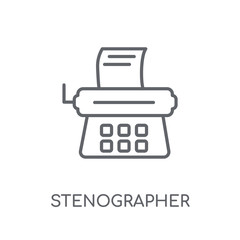 Stenographer linear icon. Modern outline Stenographer logo concept on white background from law and justice collection