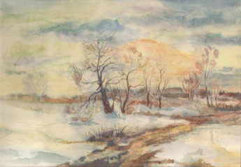 Colorful beautiful bright watercolor on paper background with space for text. yellowed trees in the snowy morning frost in misty winter and muddy road