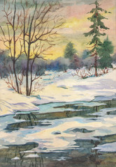 bright spring landscape with a river after melting snow with trees made in watercolor