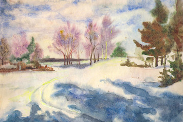 Early in the morning on a country road. Frost enveloped the trees. Blue sky and clouds, Painting created with watercolors on paper.
