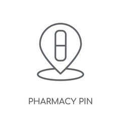 Pharmacy Pin linear icon. Modern outline Pharmacy Pin logo concept on white background from Maps and Locations collection