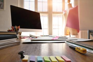Designer workplace, Selective focus.