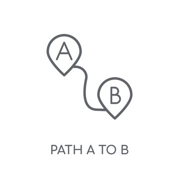 Path A to B linear icon. Modern outline Path A to B logo concept on white background from Maps and Locations collection