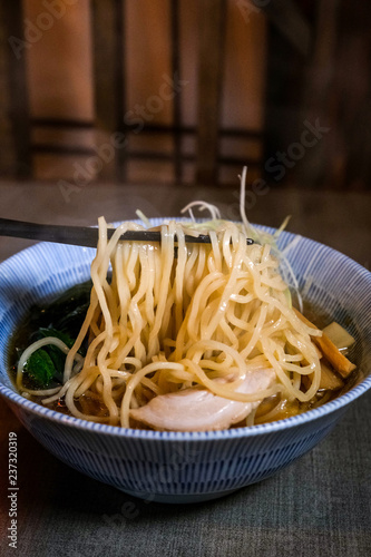 Bowl Of Steaming Hot Japanese Ramen Noodle Soup Stock Photo