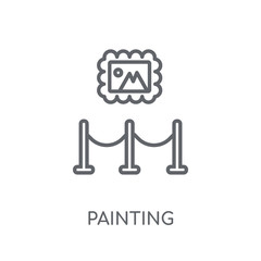 Painting linear icon. Modern outline Painting logo concept on white background from Museum collection