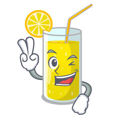 Two finger glass fresh lemon juice on mascot
