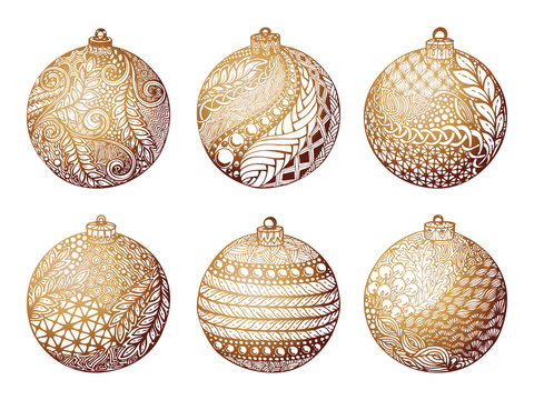 Set of gold christmas ball, hand-drawn. design for background holiday greeting cards and invitations of the Merry Christmas, Happy New Year and seasonal holidays, banners, logo and seasonal holidays.