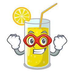 Super hero glass fresh lemon juice on mascot