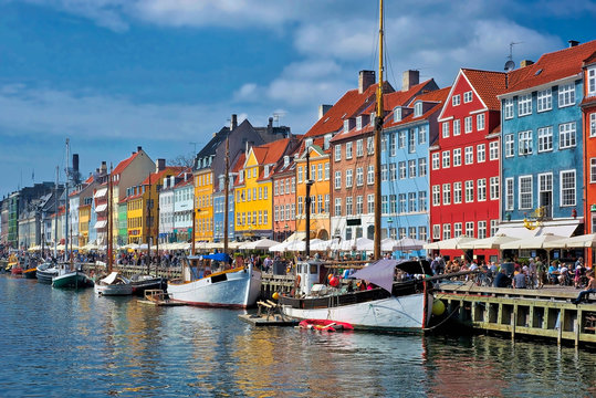 Copenhagen port side houses and boats