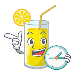 With clock glass fresh lemon juice on mascot