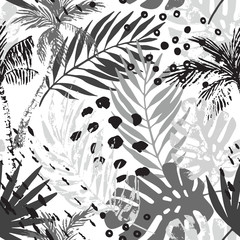 Foto op Aluminium Grafische Prints Hand drawn abstract tropical summer background