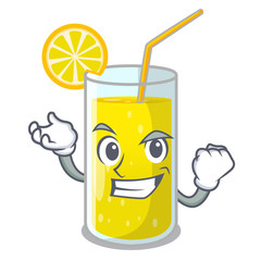 Successful glass fresh lemon juice on mascot