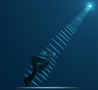 Reaching the Stars. Businessman steps onto ladder pointing to the star. Low poly vector