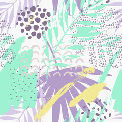 Abstract tropical drawing in pastel color palette.